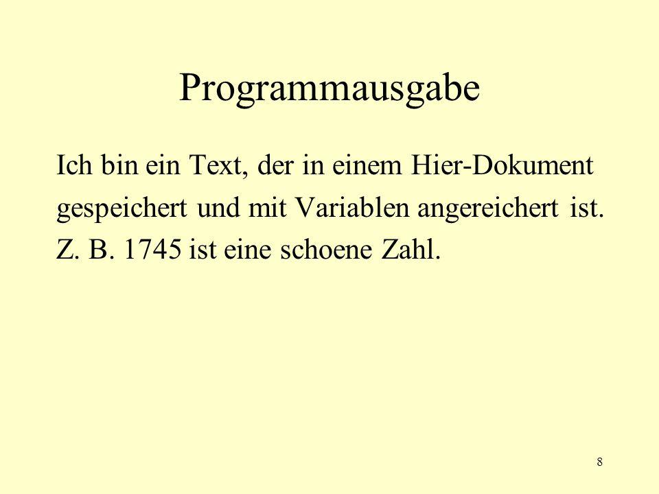 9 Aufgabe 6-1 Schreiben Sie ein Programm, dass Sie mit Namen als Parametern aufrufen können.