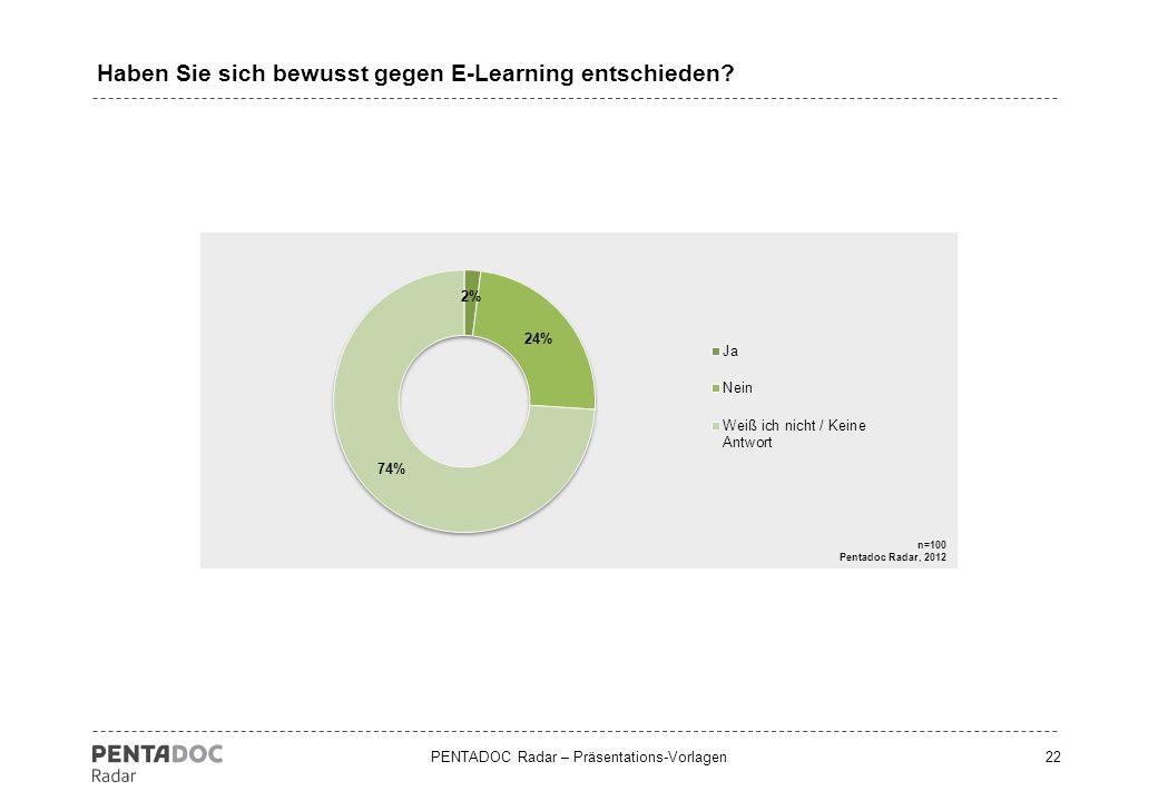 PENTADOC Radar – Präsentations-Vorlagen23 Welche Eigenschaften sind aus Ihrer Sicht beim E-Learning besonders wichtig.
