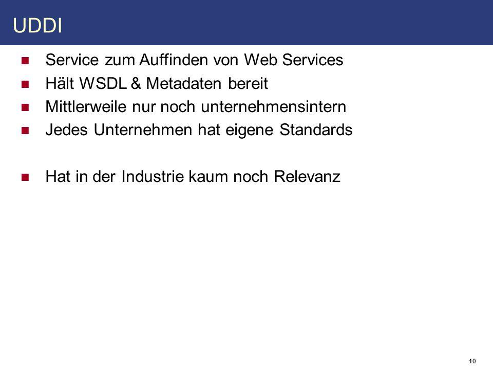11 Java und Web Services Handlers Modifizieren Nachrichten vor und nach Bearbeitung durch Web Service Service Endpoint Interface (SEI) Ein Java-Interface das Definitionen zum abstrakten WSDL- Interface enthält Java-spezifische Standards JAX-WS (JSR-224) WS-Metadata (JSR-181) JAXB (JSR-222)