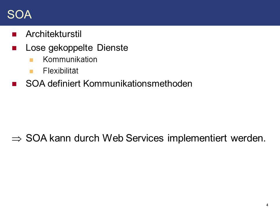 """5 Web Services Grundlagen Plattformunabhängig RESTful WS Nicht wohldefiniert Verwendet HTTP direkt Kennt nur Operationen wie GET, PUT, DELETE ⇒ für uns eher uninteressant Message-oriented WS Auch bekannt als """"Big Web Services Verwenden XML + SOAP (+ WSDL) Kontraktbasierte Kommunikation ⇒ Lose Kopplung"""