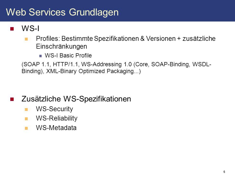 7 SOAP Protokoll zum Austausch strukturierter Daten XML-basiert Leichter lesbar für Menschen Hoher Aufwand beim Parsen Andere Protokolle zum Transport (HTTP, SMTP, FTP,...) Manche Protokolle werden von den meisten Firewalls geblockt Basis der Kommunikation zwischen Web Services Beispiel: