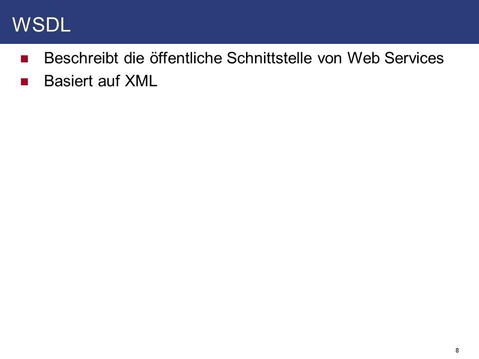 9 WSDL - Aufbau Root-Element Definitions Imports Dokumentation documentation Abstraktes Interface types XML-Schema portType operation input output message Part Zugriffsdetails binding operation input output Endpoints service port