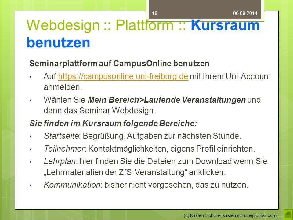 """Webdesign :: Plattform :: Aufgabe AUFGABE 1.Buchen Sie den Kurs """"Webdesign 2."""