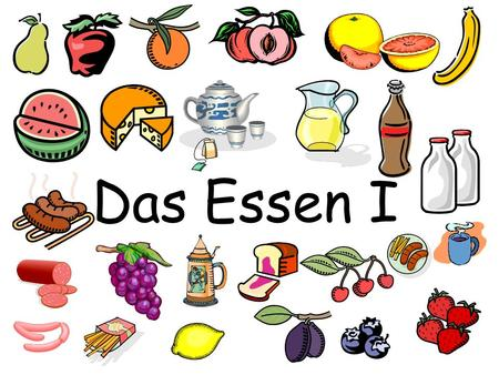 Das Essen I. Directions: (Slides 3-10) Shrink each picture and move the picture next to the correct word. As you move the picture say the word and memorize.