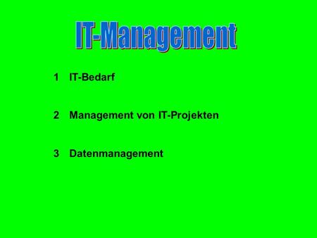 1I1IT-Bedarf 2M2Management von IT-Projekten 3D3Datenmanagement.