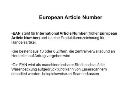European Article Number