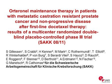 Orteronel maintenance therapy in patients with metastatic castration resistant prostate cancer and non-progressive disease after first-line docetaxel therapy: