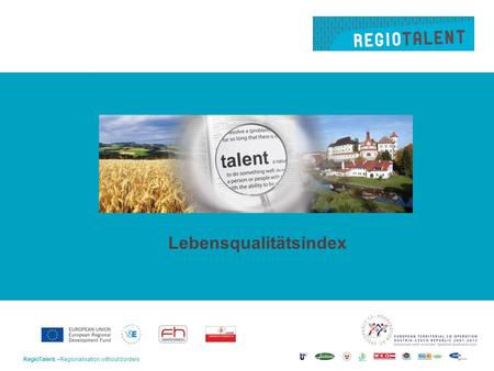 RegioTalent –Regionalisation without borders1 Lebensqualitätsindex.
