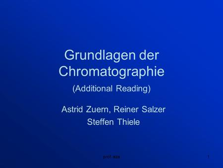 Grundlagen der Chromatographie (Additional Reading)