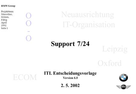 BMW Group Projektteam Mascolino, Grimm, Filbig April 2002 Seite 1 Oxford Leipzig OO-OOO-O ECOM Neuausrichtung IT-Organisation Support 7/24 ITL Entscheidungsvorlage.