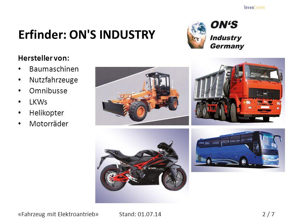 «Fahrzeug mit Elektroantrieb»3 / 7Stand: 01.07.14 InvenComm Fahrzeug mit Elektroantrieb Ein einzigartiges Konzept für Elektrofahrzeuge mit erhöhter Reichweite.
