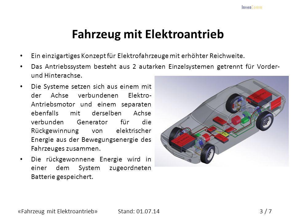«Fahrzeug mit Elektroantrieb»4 / 7Stand: 01.07.14 InvenComm Fahrzeug mit Elektroantrieb Zum System gehören ferner ein Drehstrom-Umrichter (DMC) und ein Hochleistungs-Verteiler (PDU), der die Umschaltung und Ansteuerung von Motor- bzw.