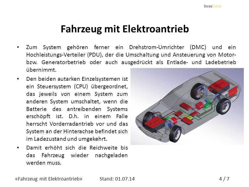 «Fahrzeug mit Elektroantrieb»5 / 7Stand: 01.07.14 InvenComm Fahrzeug mit Elektroantrieb Aufbau Testsystem, eingebaut in einen VW Golf mit marktgängigen Einzelkomponenten Verwendung von 2 Einzelsystemen mit: –E–Elektromotor mit max.