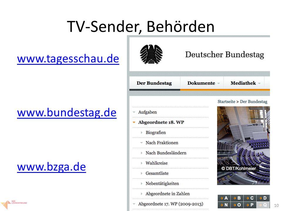 """11 TV-Sender, Behörden www.tagesschau.de Video zum Leben von Nelson Mandela www.bundestag.de Abgeordnete unseres Wahlkreises Geschlechteraufteilung des aktuellen Bundestags www.bzga.de Aidsprävention """"rauch (+ Vorschläge i.d."""