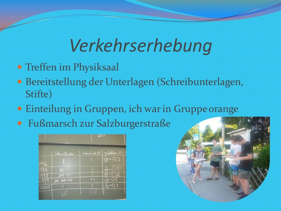 Ausarbeitung in der Schule Machten eine Strichliste der vorbei fahrenden Fahrzeuge Werteten die Strichlisten in der Schule aus Arbeiteten an Plakaten und Statistiken