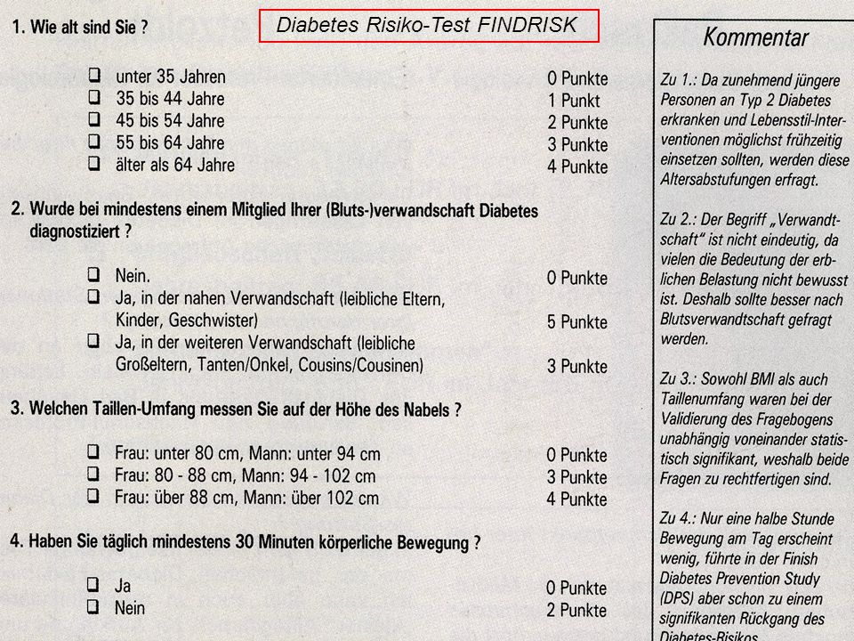 23 Diabetes Risiko-Test FINDRISK