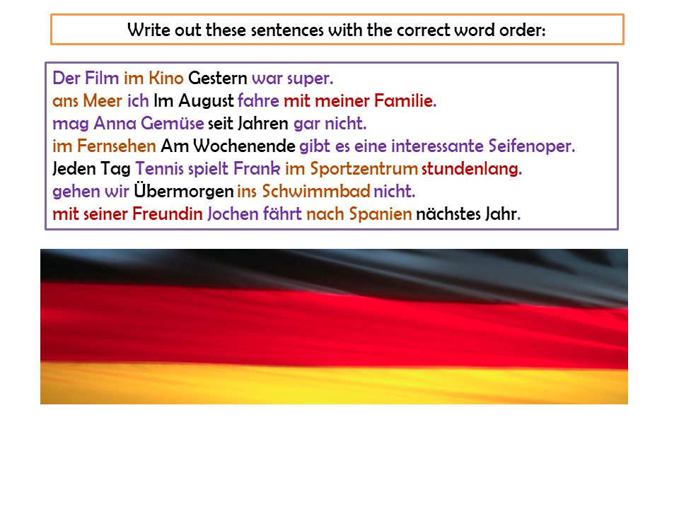 Word order with CONJUNCTIONS und, aber, sondern, oder, denn If you use these conjunctions to join two halves of a sentence, the word order does not change - it stays the same.