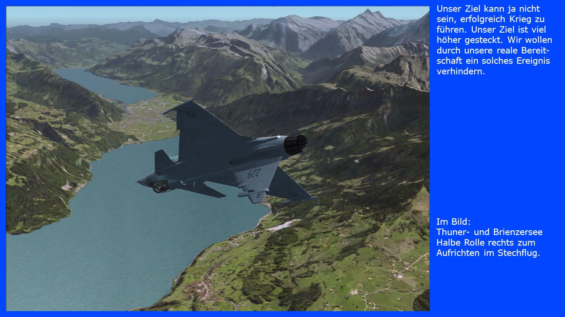 Im Bild: Thun und Spiez Das Flugzeug im Stechflug auf die gegenüberliegende Seeseite.