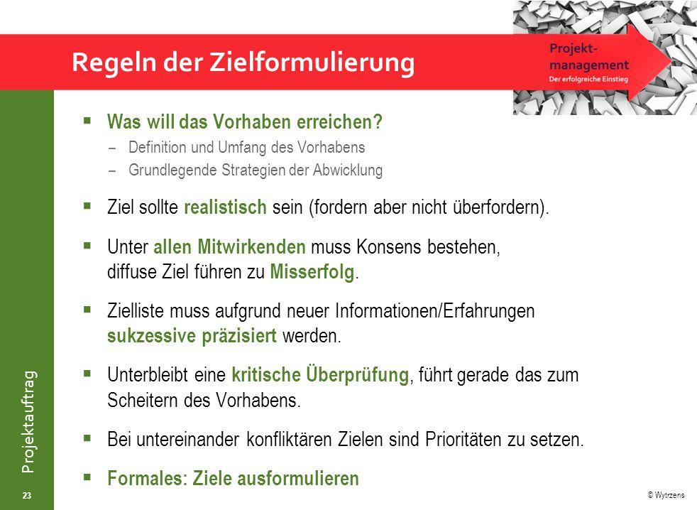 © Wytrzens Projektauftrag Zielfindung – Zielanalyse  Intuitiv (durch Einsatz von Kreativitätstechniken/z.B.