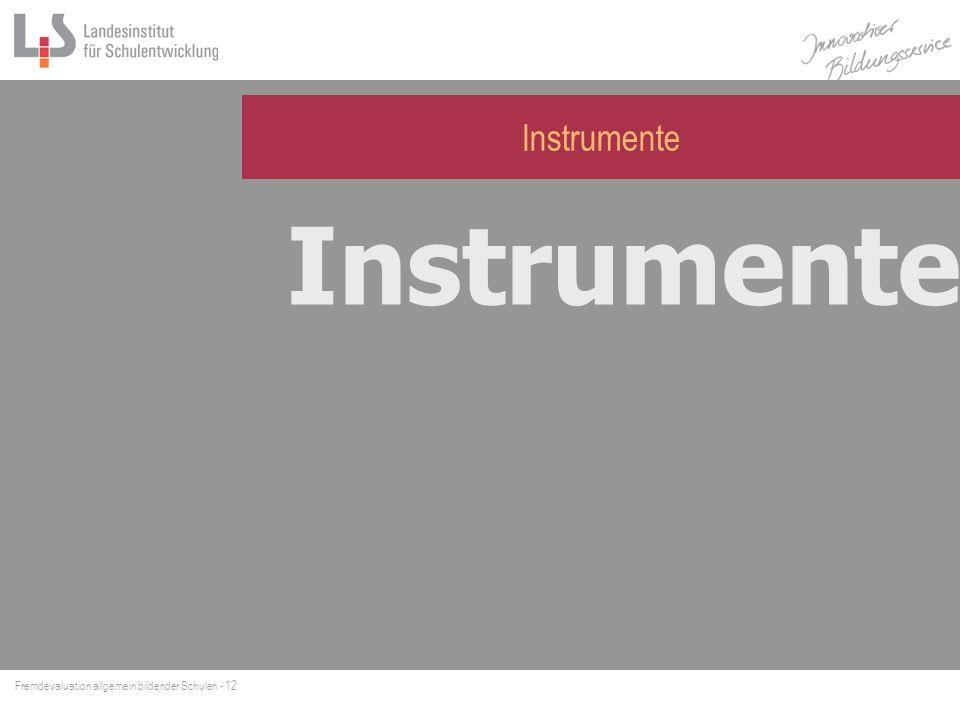 Fremdevaluation allgemein bildender Schulen - 13 Instrumente der FEV D okumentenanalyse Leitfadeninterview Beobachtung von Unterrichtssituationen (BUS) Schulhausrundgang Instrumente