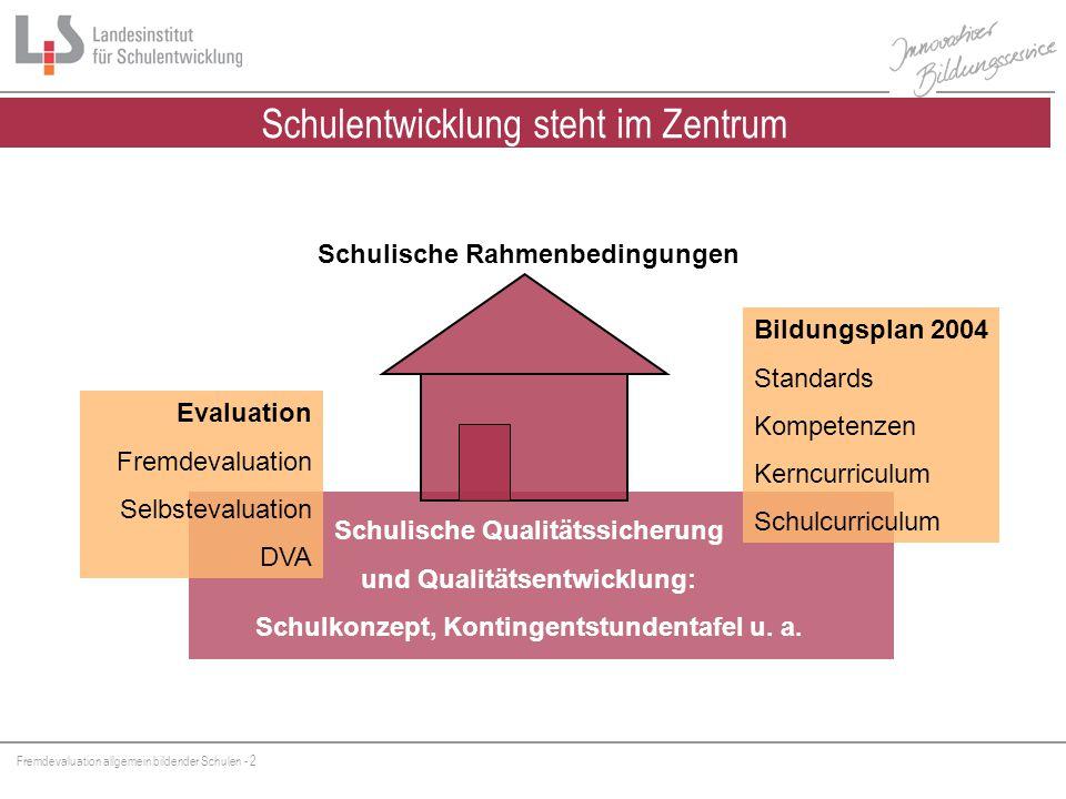 Fremdevaluation allgemein bildender Schulen - 3 30.06.2005 Wenn der Inspektor zweimal klingelt Auch Schulen bekommen Zeugnisse.