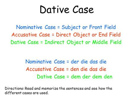 Dative Case Nominative Case = Subject or Front Field Accusative Case = Direct Object or End Field Dative Case = Indirect Object or Middle Field Nominative.
