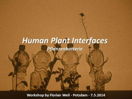 Human Plant Interfaces Pflanzenbatterie Workshop by Florian Weil - Potsdam - 7.5.2014.