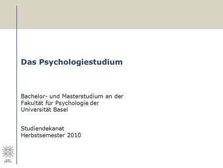 Das Psychologiestudium