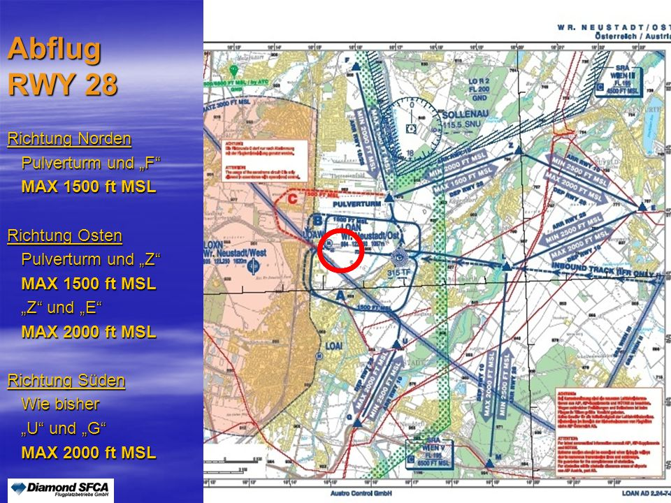 """Peter Merz Neues An-und Abflugverfahren LOAN5 Anflug RWY 28 Von Norden """"F und Pulverturm """"F und Pulverturm MIN 2000 ft MSL MIN 2000 ft MSL Von Osten """"E und """"L """"E und """"L MIN 2500 ft MSL bis """"L MIN 2500 ft MSL bis """"L Von Süden """"M und """"L """"M und """"L MIN 2500 ft MSL bis """"L MIN 2500 ft MSL bis """"L"""