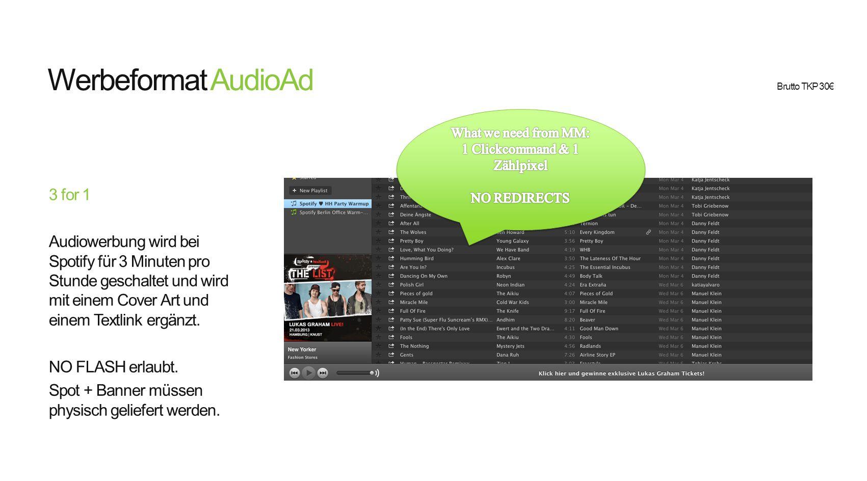 Werbeformat Beispiel Display + Lightbox Die Lightbox ist eine Microsite/Landingpage, die sich innerhalb von Spotify öffnet, sobald der Nutzer auf ein Werbemittel (Audio, Display oder HPTO) klickt.