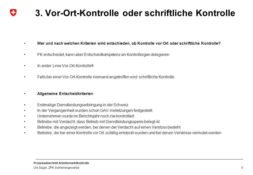 Prozessabschnitt Arbeitsmarktkontrolle Urs Sager, ZPK Schreinergewerbe 4.