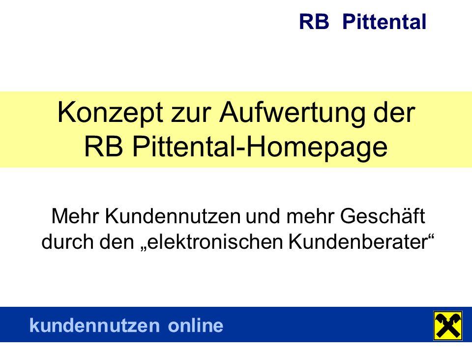 RB Pittental kundennutzen online Zielsetzung Eine gute Internetpräsenz soll Ihre Bankstellen und Mitarbeiter, Ihre Produkte und Dienstleistungen sowie Ihre Leistungen in der Region und für die Region Ihren Kunden und potentiellen Kunden übersichtlich und aktuell zeigen.
