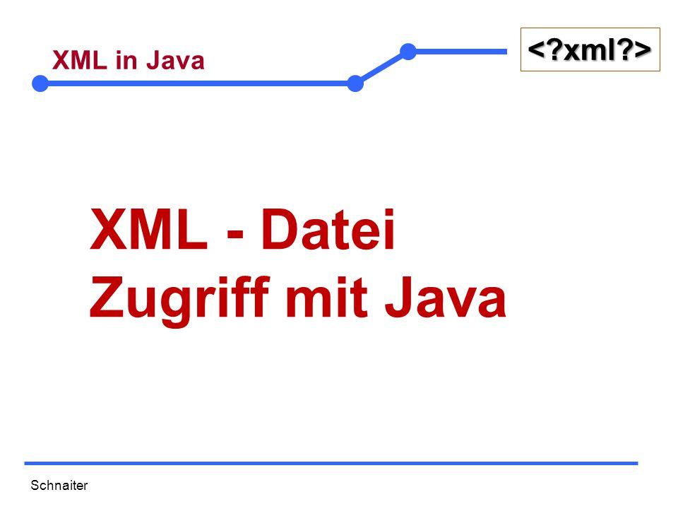 Schnaiter <?xml?> XML in Java  XML-Dateien für Experimente  SAX (Simple API fort XML)  STAX (Streaming API fort XML)  Übung: SAX - STAX  DOM  JDOM und XPath  Exkurs: DAO-Pattern  Übung: DAO-Pattern gelöst mit JDOM und XPath