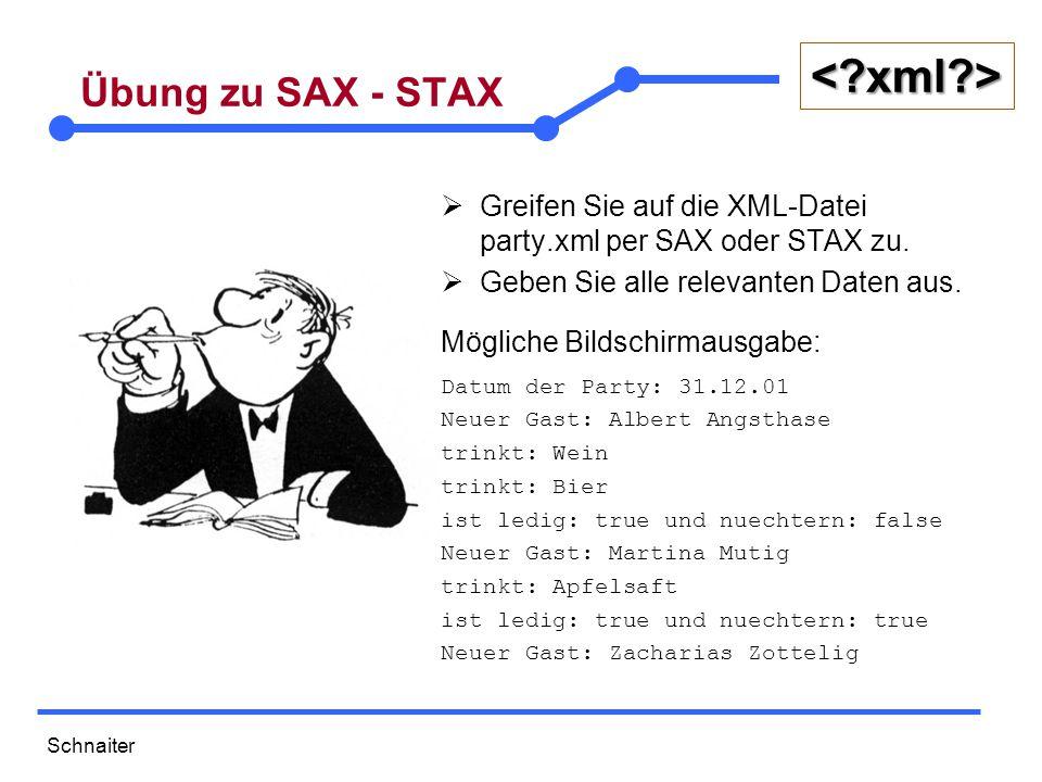 """Schnaiter <?xml?> DOM (Document Object Model)  Erstellung eines baumförmigen Modells der Dokumentstruktur (XML oder HTML)  Auswertung und Manipulation dieser Struktur über Methoden der Objekte im Baum  Sammlung von Klassen (""""Interfaces ), die im Baum verwendet werden"""