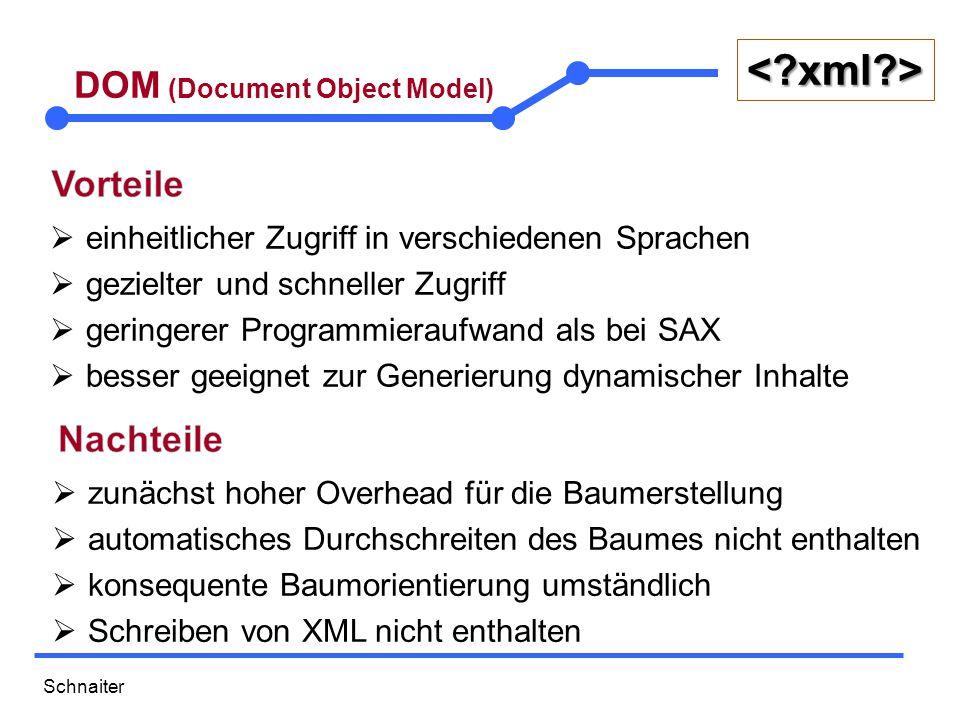Schnaiter <?xml?> DOM (Document Object Model)