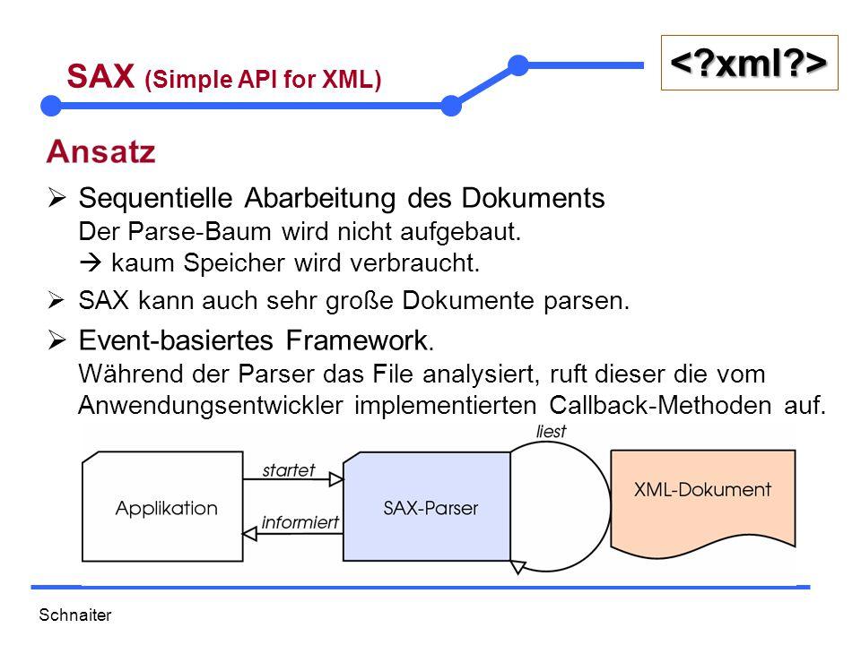 Schnaiter <?xml?> SAX (Simple API for XML) package fachklassen; public class Mitarbeiter { private int id; private String name; private String geschlecht; private int alter; private String funktion; // Konstruktoren Default und mit allen Attributen als Parameter // diverse setter und getter @Override public String toString() { return Mitarbeiter: ID= +this.id+ Name= + this.name + Alter= + this.alter + Geschlecht= + this.geschlecht + Funktion= + this.funktion; } mitarbeiter.java