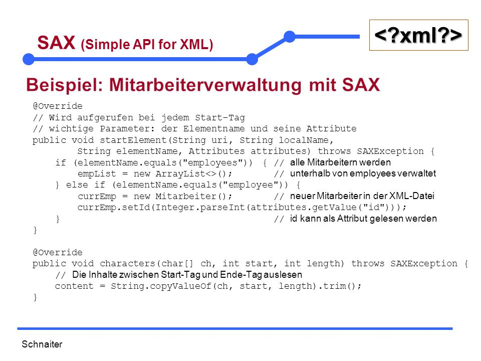 Schnaiter <?xml?> SAX (Simple API for XML) @Override public void endElement(String uri, String localName, String elementName) throws SAXException { if (elementName.equals( employee )) { // Füge den neuen Mitarbeiter zur Liste hinzu empList.add(currEmp); // Alle anderen Tags dienen zum Setzen der Attribute } else if (elementName.equals( age )) { currEmp.setAlter(Integer.parseInt(content)); } else if (elementName.equals( name )) { currEmp.setName(content); } else if (elementName.equals( gender )) { currEmp.setGeschlecht(content); } else if (elementName.equals( role )) { currEmp.setRole(content); }