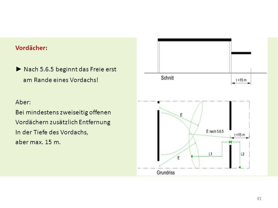 """42 Klarstellung: RW-Führung bei """"eingestellten Räumen RW dürfen über den gleichen Produktions- oder Lagerraum führen ausreichende Sichtverbindung ab 20 m² zusätzlich geeignete Warnung Ohnehin gilt: 15 m bis zum nächsten Hauptgang"""