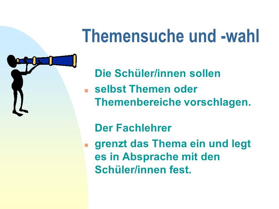 Themen und Methoden n gemeinsame Oberthemen für mehrere Schüler/innen mit unterschiedlichen Schwerpunkten (z.B.