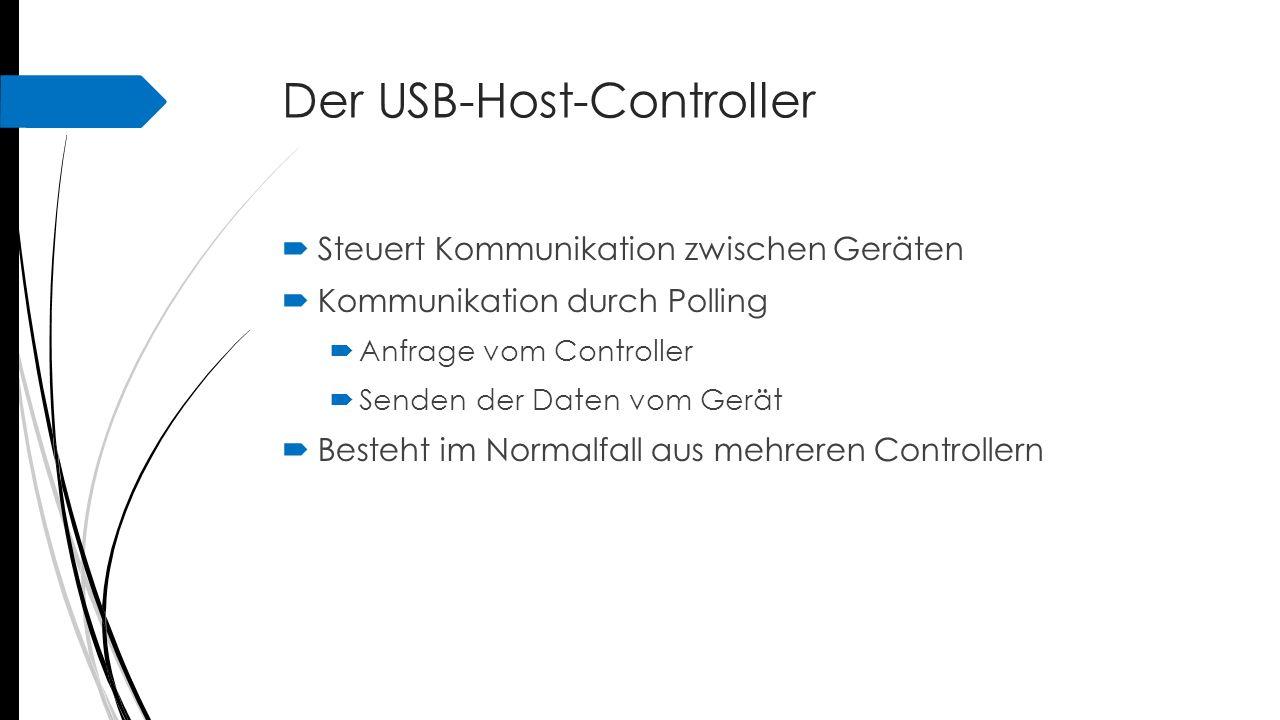 Der USB-Host-Controller Anmeldevorgang  Reset, beide Datenleitungen auf Massepotential  Gerät bekommt Adresse 0  Zuweisung einer eindeutigen Adresse durch Host- Controller  Initial-Poll  Hersteller- und Produkt-ID  Alternative Konfigurationen + Geräteklasse  Control-Transfer-Modus, beidseitige Kontrolle der Daten
