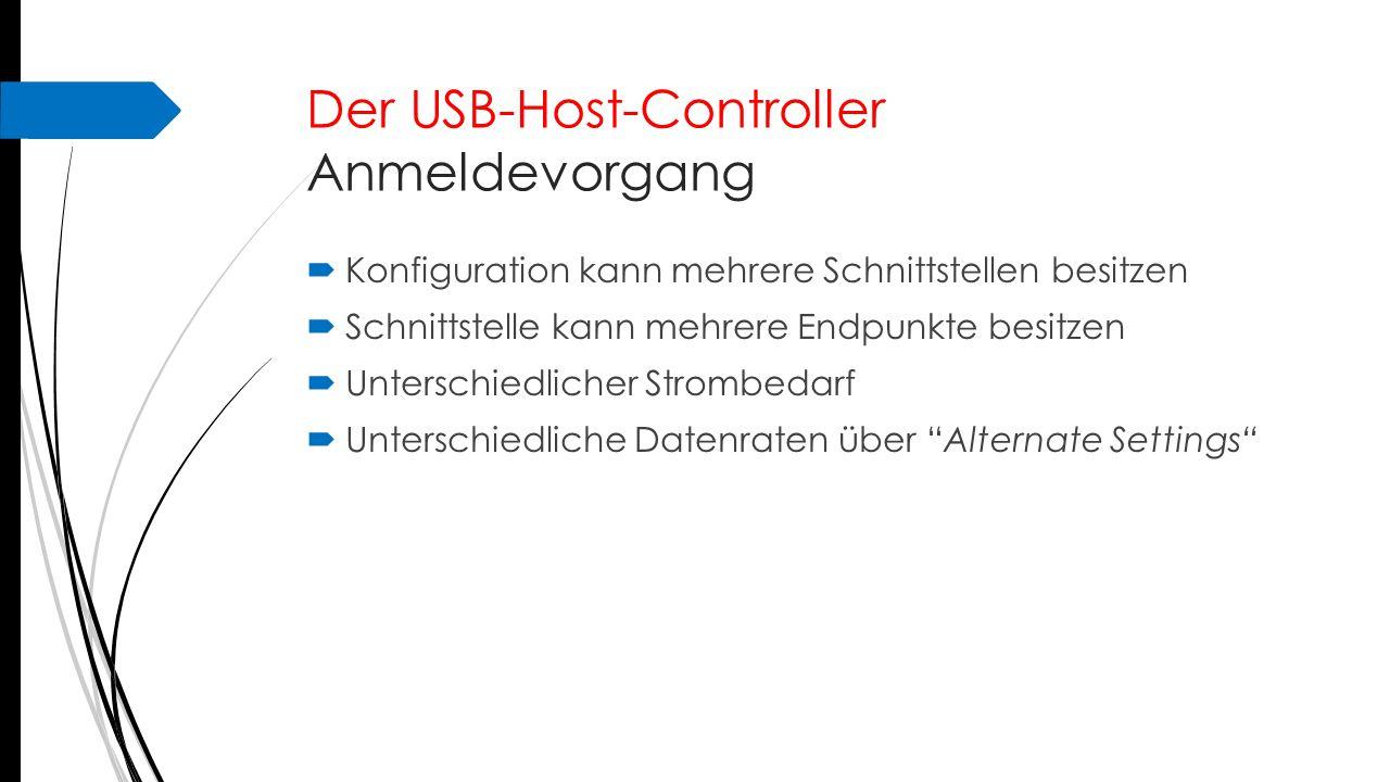 Endpunkt-Betriebsmodi  Endpunkte == Unteradressen  USB SIE ( S erial I nterface E ngine)  Unabhängige Datenströme  1 Endpunkt (Adresse 0) für Erkennung  Maximal 31 Endpunkte pro Gerät  15 In- und Out  1 für Erkennung  Bei Low-Speed Geräten:  Max 3 Endpunkte