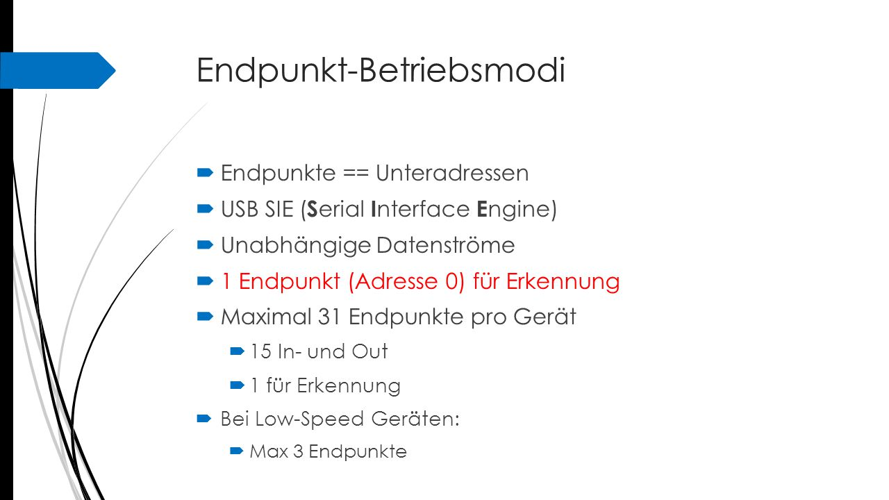Endpunkt-Betriebsmodi  Bei Low-Speed Geräten:  Max 3 Endpunkte