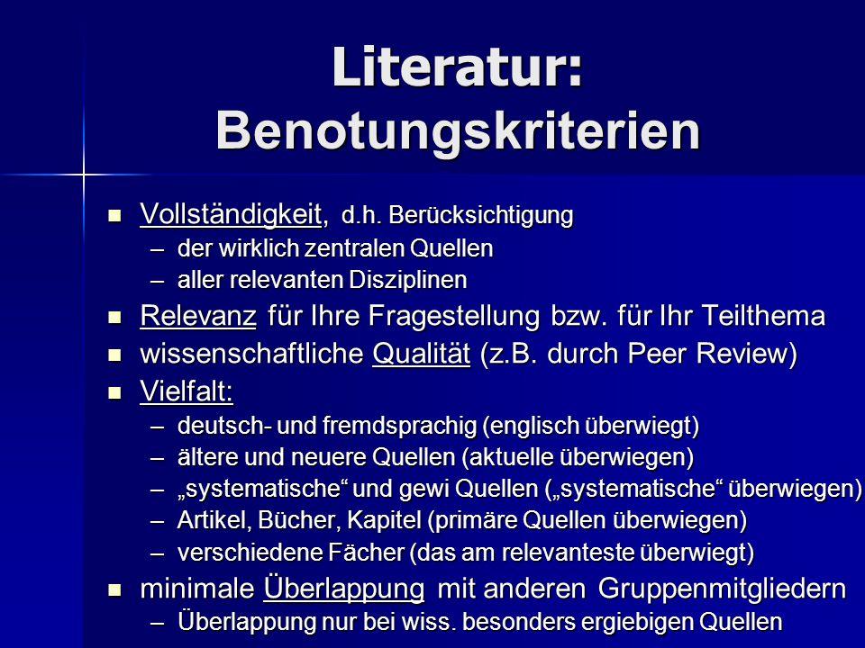 Literatursuche: Tipps Am wichtigesten: Datenbanken im Internet (PsychINFO, Psyndex, RILM…) Am wichtigesten: Datenbanken im Internet (PsychINFO, Psyndex, RILM…) –Unibereich: http://www-gewi.uni-graz.at/staff/parncutt http://www-gewi.uni-graz.at/staff/parncutt http://www-gewi.uni-graz.at/staff/parncutt –zu Hause: zuerst Cisco installieren http://www-classic.uni-graz.at/zidwww/kfunet/vpn/ http://www-classic.uni-graz.at/zidwww/kfunet/vpn/ http://www-classic.uni-graz.at/zidwww/kfunet/vpn/ UB-Bücherkatalog UB-Bücherkatalog Google Google In allen drei Fällen: englische Begriffe kombinieren.