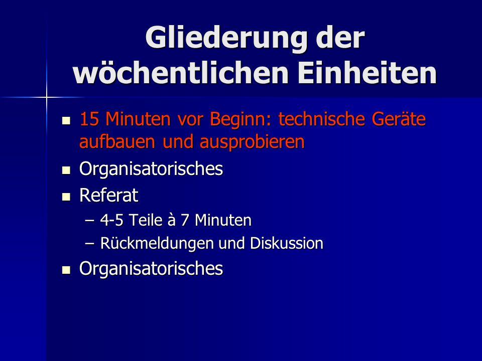 Gliederung des Referats bzw.der Arbeit Teil*ReferatArbeit Einleitung 5-7 Minuten 2-3 Seiten 1.