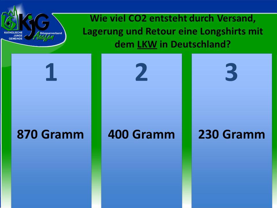 2 2 1 1 3 3 870 Gramm400 Gramm230 Gramm Wie viel CO2 entsteht durch Versand, Lagerung und Retour eine Longshirts mit dem LKW in Deutschland?