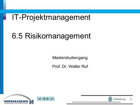 IT-Projektmanagement 6.5 Risikomanagement Masterstudiengang Prof. Dr. Walter Ruf 1.
