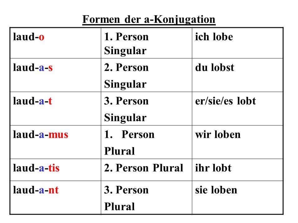 Formen der e-Konjugation vid-e-o1.Person Singularich sehe vid-e-s2.