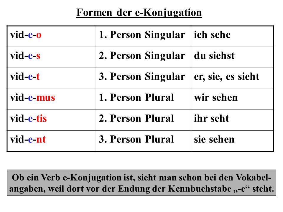 Formen der i-Konjugation ven-i-o1.Person Singularich komme ven-i-s2.