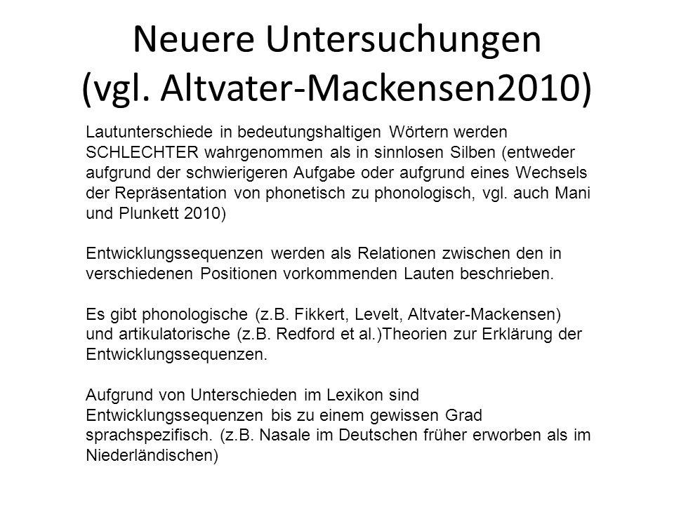 Lautproduktion 0-4 Monate: Lautnachahmung Vokalähnlich: /e/,/I/, /U/ Konsonantenähnlich: /h/,/?/,/k/,/g/ Ab 6 Monate: Babbling (Lallen) Ab 7.-10.Monat: repetitives Silbenplappern Zusätzliche Konsonanten /d/,/m/,/b Silben: ba, da, ga Reduplicated babbling: baba, dada Ab 11.