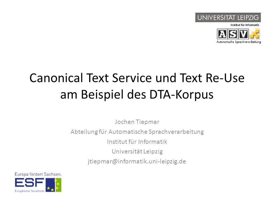 """Grundlegendes Canonical Text Services (CTS) – Protokoll für webbasierten Textservice für Zitation – Entwickelt im Homermultitext Projekt (www.homermultitext.org), Smith et.al.2009 http://www.homermultitext.org/hmt-docs/specifications/ctsurn/ http://www.homermultitext.org/hmt-docs/specifications/cts/ – Eindeutige Identifier (Unique Resource Name, URN) spezifizieren Textabschnitte (passages) – Implementierungen auf Basis von Tripelstore und XML-Datenbank vorhanden, waren aber nicht für unsere Zwecke nutzbar – Diese (MySQL-basierte) Implementierung ist Teil des ESF-Projektes """"Bibliothek der Milliarden Wörter – Der Inhalt dieser Präsentation kann auf www.urncts.de live nachvollzogen werdenwww.urncts.de Canoncal Text Services - Jochen Tiepmar 2014"""